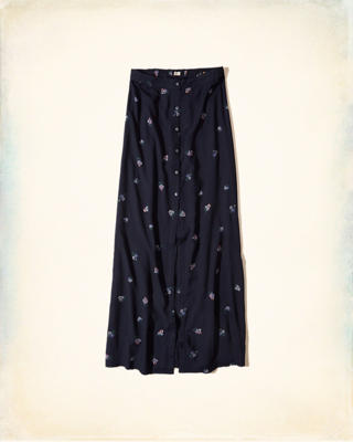 Button-Front Woven Maxi Skirt