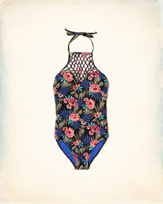 Halter High-Neck One-Piece Swimsuit