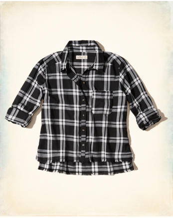 hol Frayed Hem Plaid Shirt