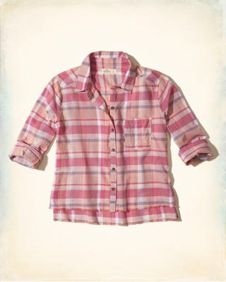 Frayed Hem Plaid Shirt