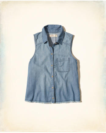 hol Sleeveless Chambray Shirt