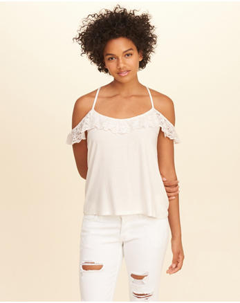 hol Lace Ruffle Cold Shoulder Top