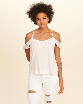 Lace Ruffle Cold Shoulder Top
