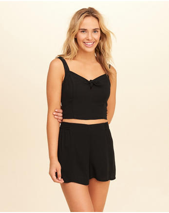 hol Tie-Front Woven Crop Top