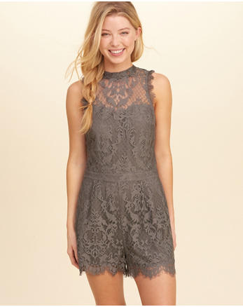 hol Open Back High-Neck Lace Romper