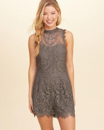Open Back High-Neck Lace Romper