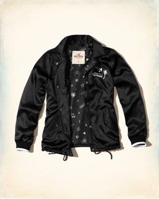 Graphic Satin Coach Jacket