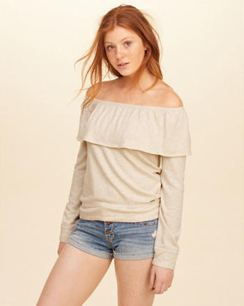 Ruffle Off-The-Shoulder Sweatshirt