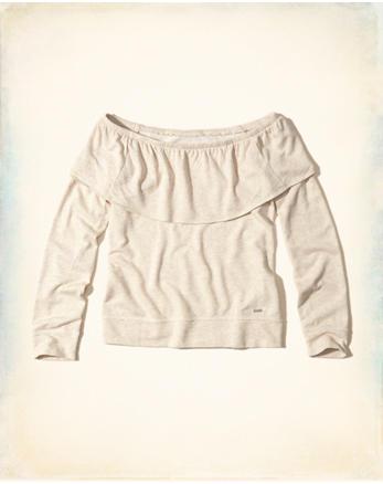 hol Ruffle Off-The-Shoulder Sweatshirt