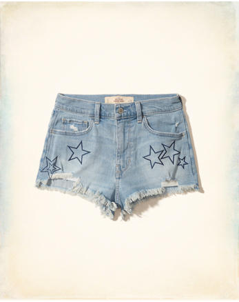 hol Embroidered High-Rise Denim Vintage Shorts