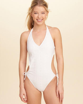 Eyelet Side-Tie One-Piece Swimsuit