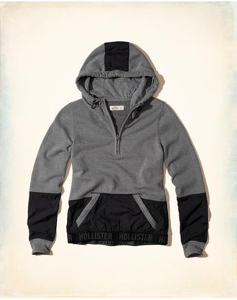 hol Nylon Colorblock Half-Zip Hoodie