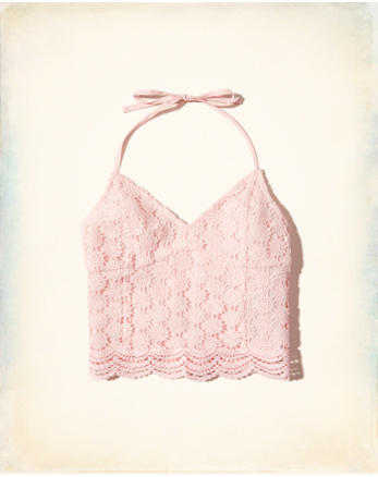 hol Lace Halter Crop Top
