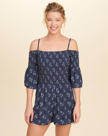 Smocked Cold Shoulder Romper