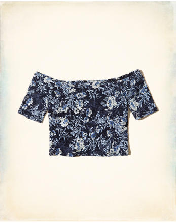 hol Off-The-Shoulder Lace Crop Top