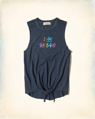 Tie-Front Graphic Tank