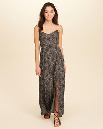 Cutout Patterned Maxi Dress