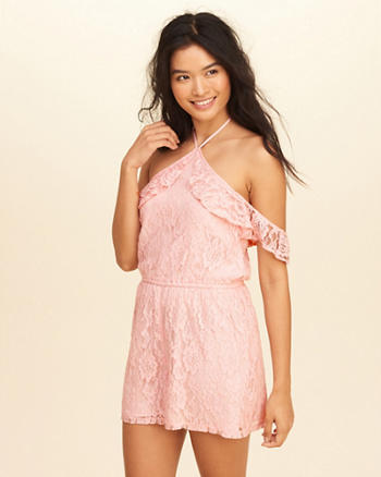 Ruffle Cold Shoulder Lace Romper