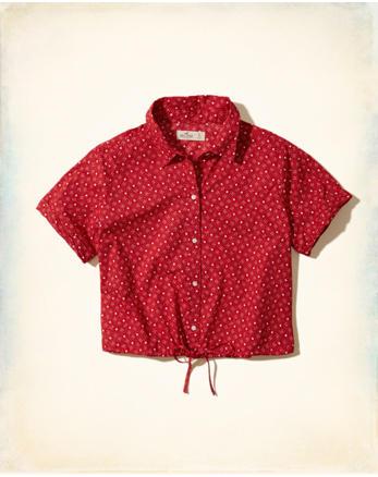 hol Crop Tie-Waist Shirt