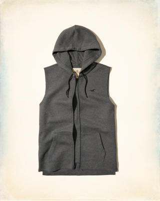 Zip-Up Sleeveless Hoodie