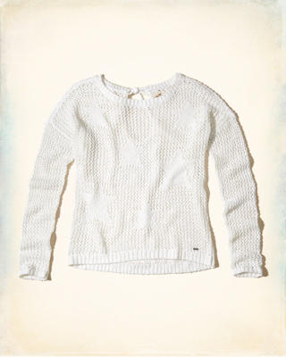 Tie-Back Open Stitch Sweater