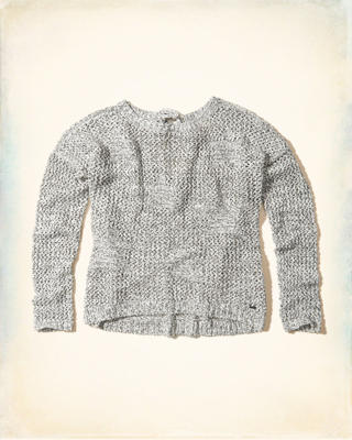 Tie-Back Open-Stitch Sweater