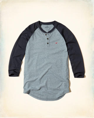 3/4 Sleeve Colorblock Henley