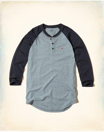 hol 3/4 Sleeve Colorblock Henley
