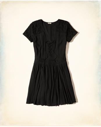 hol Lace-Up Skater Dress
