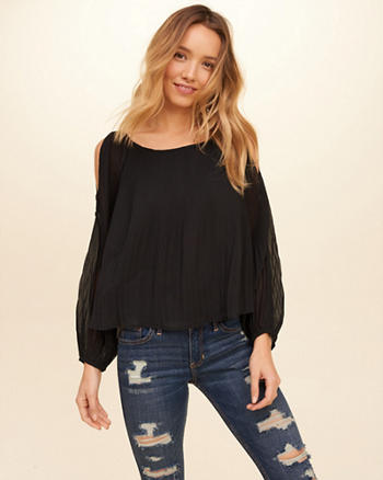 Pleated Chiffon Cold Shoulder Top