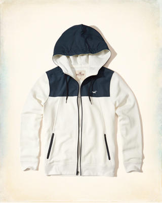 Colorblock Nylon Zip-Up Hoodie