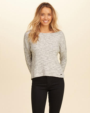 Slouchy Ribbed Pullover Sweater
