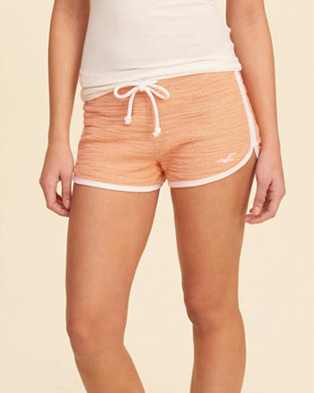 Textured Curved Hem Icon Shorts