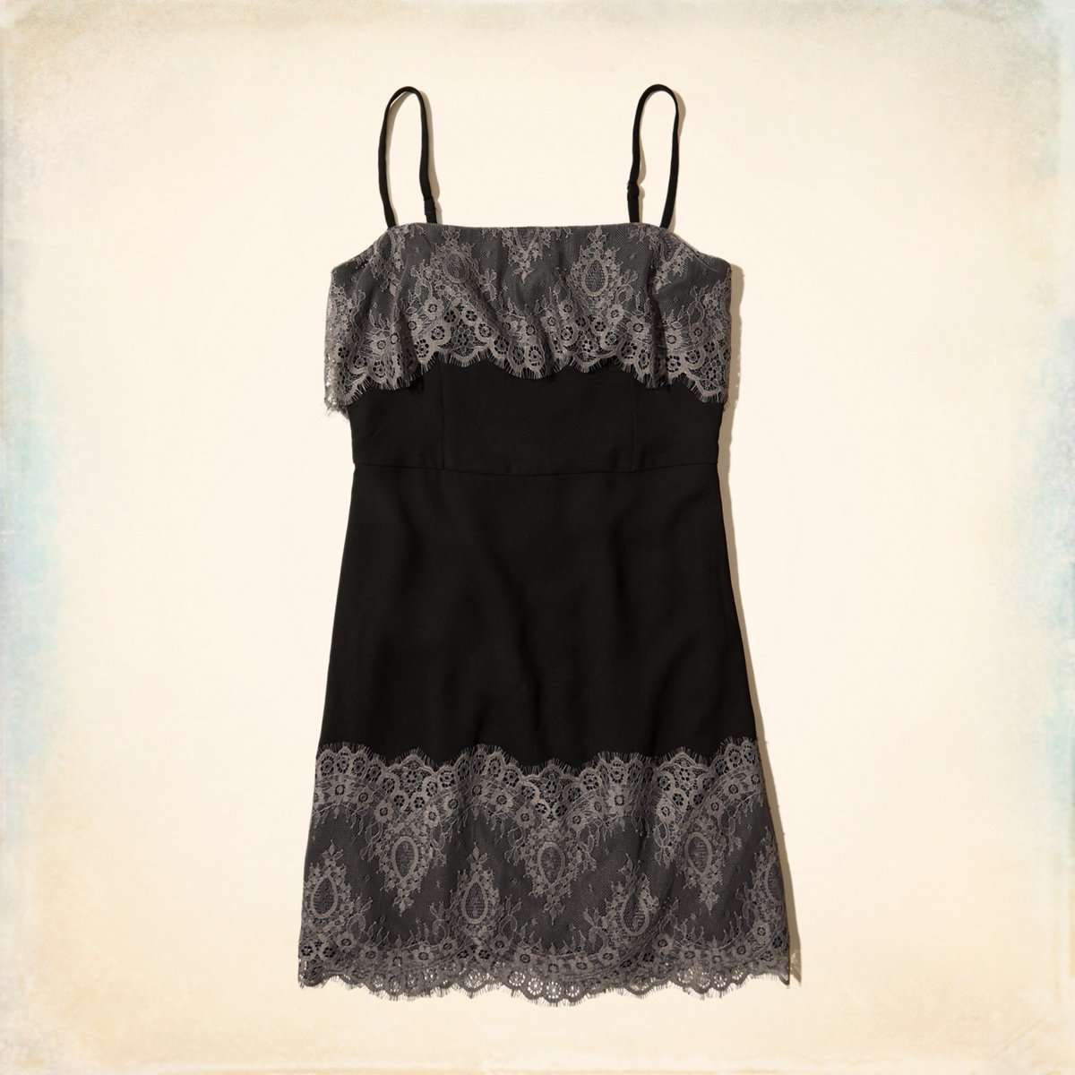 Lace Overlay A-Line Dress