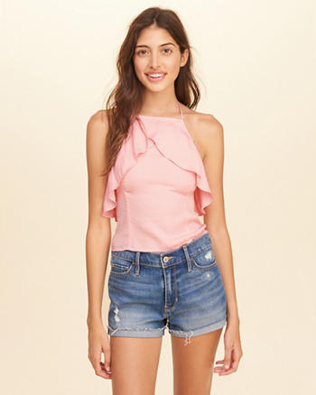 Ruffle Satin Halter Top