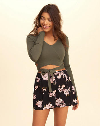 Wrap V-Neck Crop Top