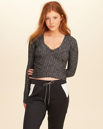 Ribbed Wrap Front Top
