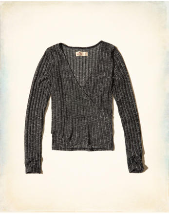 hol Ribbed Wrap Front Top