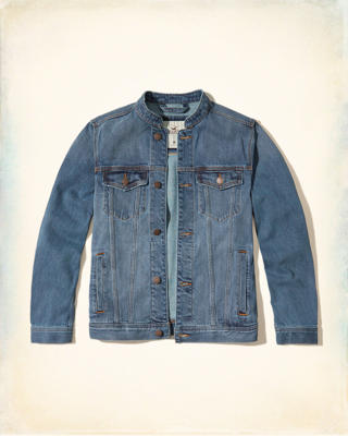 Banded Collar Denim Jacket