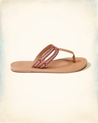 Thread Leather Flip Flops