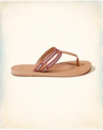hol Thread Leather Flip Flops