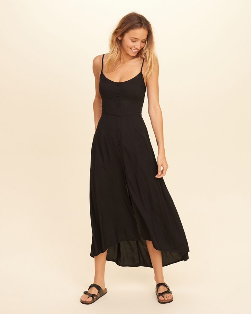Satin pocket maxi dress