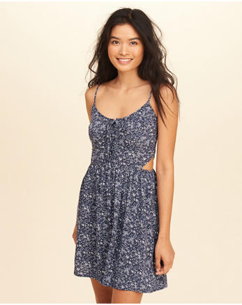 hol Lace-Up Cutout Skater Dress