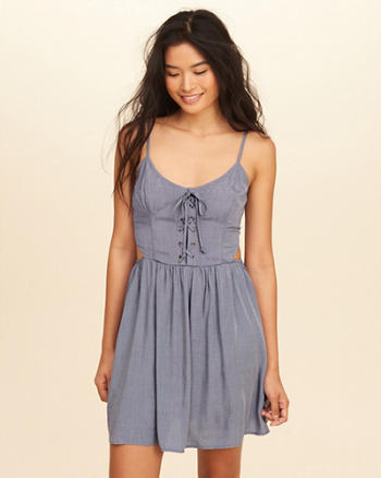Lace-Up Cutout Skater Dress