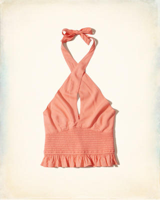 Crossover Smocked Halter Top