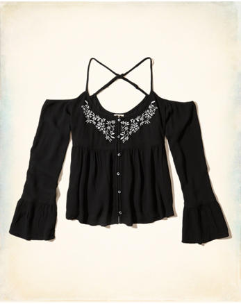 hol Embroidered Cold Shoulder Top