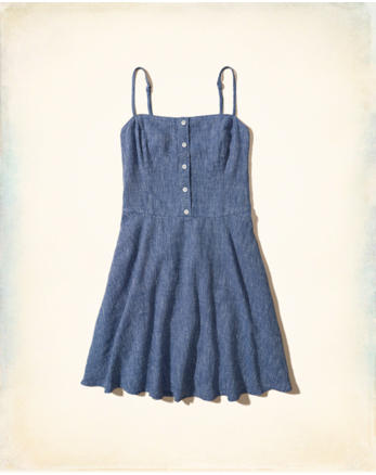 hol Button-Front Skater Dress