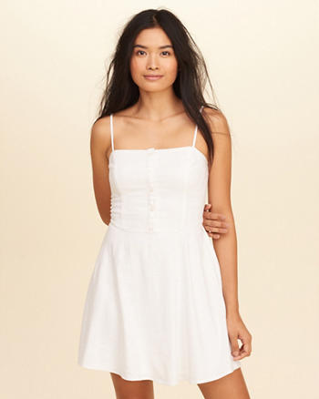 Button-Front Skater Dress
