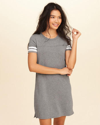 Stripe Sleeve T-Shirt Dress