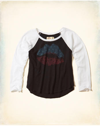 hol Crop Raglan Graphic Tee